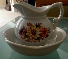 Mccoy Flowers Pitcher And Bowl #7528 Made In The USA, Vintage Set 🌼