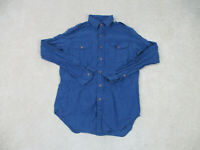 Ralph Lauren Polo Button Up Shirt Adult Small Blue Long Sleeve Casual Mens B31