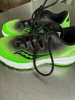 SAUCONY FREEDOM ISO EVERUN RUNNING SHOES LIME GREEN GRAY BOYS 2