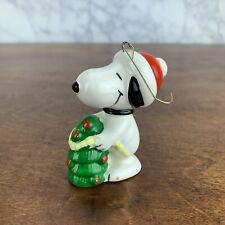 Vintage 1966 Snoopy Christmas Tree Ceramic Ornament Peanuts