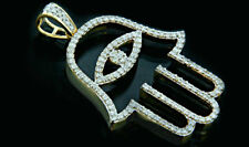 Vintage & Estate 1920s 10K Yellow Gold Over 1.50CT Round Diamonds Hamsa Pendant