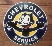 "Vintage Chevrolet Service  Felix Cat Porcelain Sign 12"" Gas And Oil Sign"