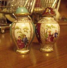 Pair Antique  Dresden Porcelain - Miniature Covered Jars 5cm