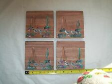 Drink Coasters~Hand Painted Red Stone~water absorbant~Quail Desert scene