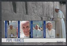 Canouan Grenadines St Vincent 2014 MNH Pope Francis Visits Israel 4v M/S