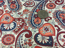 """BTY ~ FABRIC FINDERS 100% COTTON FABRIC ~ PAISLEY & HEARTS ~ NAVY MULTI ~ 59""""W"""