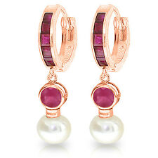 4.65 CTW 14K Solid Rose Gold Huggie Earrings pearl Ruby