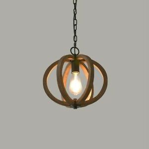 Farmhouse Globe Wood Cage Single Pendant Light Brown Ceiling Fixture Kitchen E27