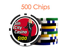 Custom 8 Stripe Design Poker Chips w/Your Logo/Design in Full Color - 500 chips