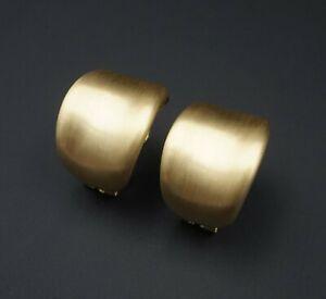 "Matte Brushed 18k Gold Modern Wide Half Hoop Huggie Statement Earrings 1"" EG1710"