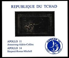 Chad 7295 - APOLLO 11 - 14 deluxe sheet  in GOLD FOIL on GLOSSY CARD