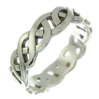 Celtic Knot Band Silver Ring, Mix US Size, Plain Solid Sterling Silver, rp228