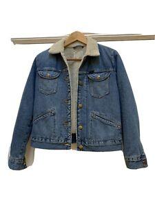 Ex Wrangler Sherpa Corded Blue Denim Bomber Jacket Size Xs 8-10
