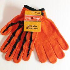 Halloween Spooky Village Mini Max Stretchers Gloves - Black Skeleton on Orange