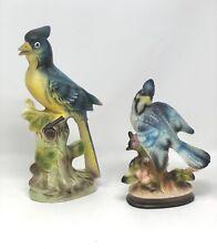 Vintage Pair Ceramic Porcelain Blue Jay Bird Figurines Japan