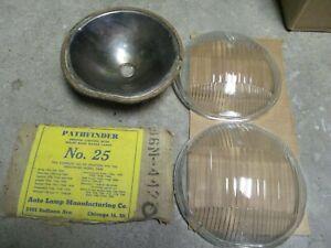 1936 37 38 39 BUICK CHEVY CADILLAC OLDSMOBILE PONTIAC  NORS HEADLAMP LENS PAIR