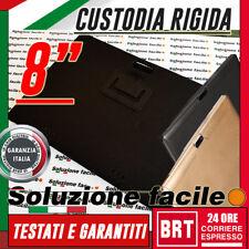 """CUSTODIA RIGIDA PROTETTIVA CASE X TABLET 8"""" POLLICI TIPO PELLE NERA +FORO CAMERA"""
