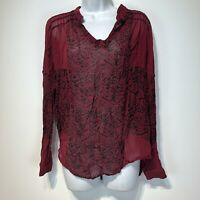 lucky brand sheer red black long sleeve crinkle Embroidered Blouse Size XS