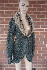 Womens Cardigan 18 Sparkling Fabric Faux Furr Collar Winter Coat Jacket Crossroa