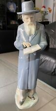Vintage Nao By Lladro Book Reading Rabbi/Religious Figurine. Handmade In Spain.