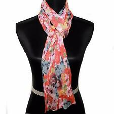 "Womens Scarf Peach Multi Color Floral Flower Crinkled 66""L 12""W"