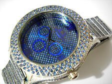 Iced Out Bling Bling Big Case Hip Hop Techno King Men's Watch Blue Item 2702