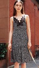 NWT REBECCA TAYLOR 12 Black Sleeveless Pop Flower Silk Slip Dress $395
