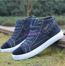 Mens Leisure High Top Sneakers Denim Canvas Lace Up Plimsoll Boots Board Shoes