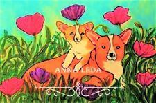 Original ACEO ATC Print Corgi Mom and Pup with Poppies, SHIPS WORLDWIDE