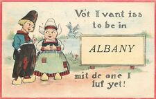 """I Vant to Be In"" Albany Oregon~Mit the One I Luf~1916 Signpost Pennant Postcard"
