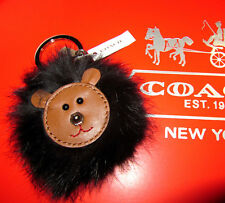 New Authentic Coach Brown Fur Cute Teddy Bear Key Chain NWT $58