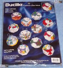 Bucilla 12 WHITE CHRISTMAS Polar Bears Counted Cross Stitch Ornaments Kit