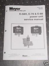 Meyer Electro-Lift E-58H E-78 E-88 Power Service Manual - NEW Condition