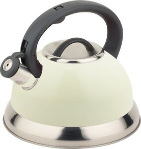 Buckingham Stainless Steel Stove Top Induction Gas Whistling Kettle 3 L - Cream