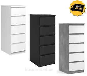 MODERN Chest Of 5 Drawers Bedside Table Cabinet Bedroom Furniture Gloss & Matte