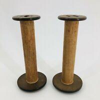"""2 Vintage PRIMITIVE Large 9"""" Wood Industrial Textile Bobbin Spools CANDLESTICKS"""