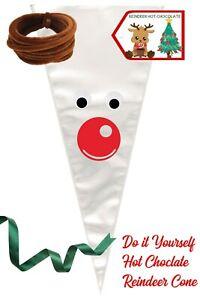 Christmas Eve Box Filler Reindeer Hot Chocolate Cone Stocking Filler DIY