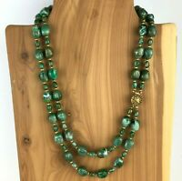 Vintage Faux Stone Double Strand Necklace Green Gold Tone Hidden Clasp 30""