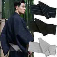Japanese Mens Kimono Yukata Stiff Kaku Obi Belt Easy Kai No Kuchi Musubi