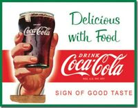 COKE - Delicious with Food Retro Tin Metal Sign 13 x 16in
