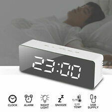 Digital LED Large Display Alarm Clock USB/Battery Operated Mirror Face Design