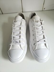 CONVERSE ALL STAR CT WOMENS MENS LOW TOP WHITE REAL LEATHER TRAINERS UK 7 EU 40