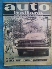 AUTO ITALIANA ottobre 1961 / SIMCA 1000 / FIAT COUPÉ 2300 / ANGLIA