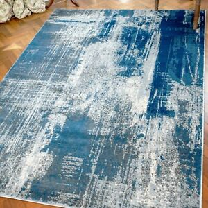 Blue Grey Abstract Rugs Large Small Living Room Bedroom Carpet Runner Mats Cheap
