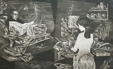 1987 Modernist print portrait figures signed