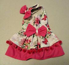S female Dog dress [pink poms] cotton handmade