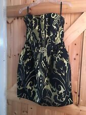 """Gorgeous H&M Bustier Party Dress Size 10 Chest 34"""" In Black & Gold. Lovely Dress"""