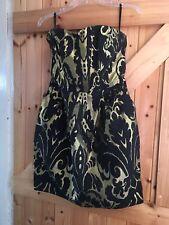"""Vestido De Fiesta Preciosa H&M Bustier Talla 10 pecho 34"""" en Negro y Oro. Hermoso Vestido"""