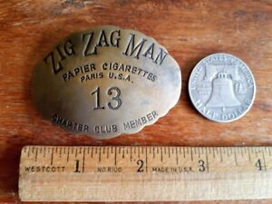 VINTAGE ZIG ZAG MAN BRASS BADGE PIN rolling papers weed marijuana cannabis 420