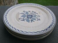 Set of 5 Adams Ironstone Baltic Blue OLDER CREAM Salad Plates